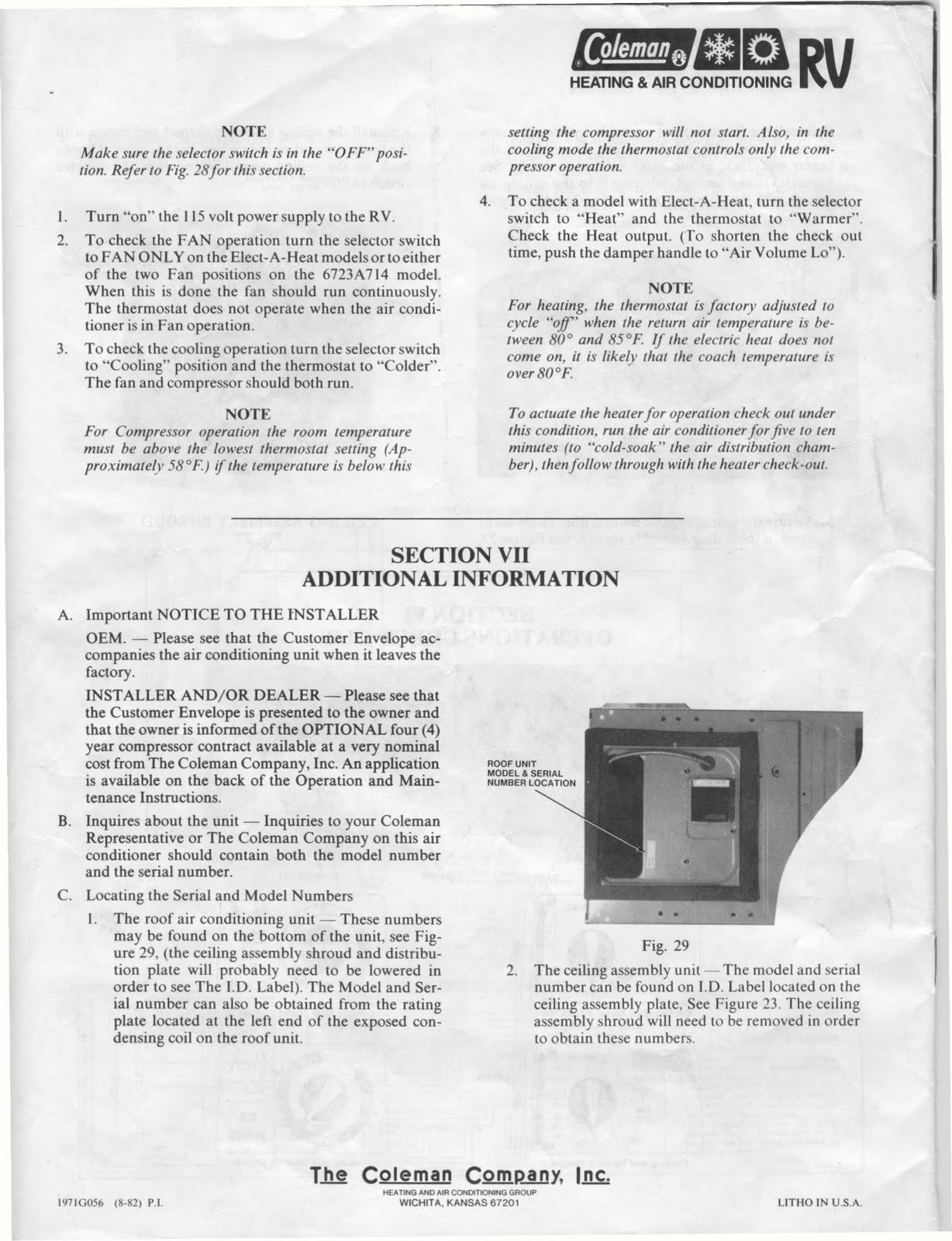 Coleman Mach Air Conditioner Wiring Diagram 2001 Ford Focus 1983 Fleetwood Pace Arrow Owners Manuals Rv